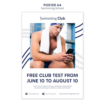 Swimming school poster template