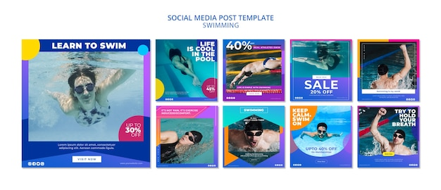 Swimming social media post collection