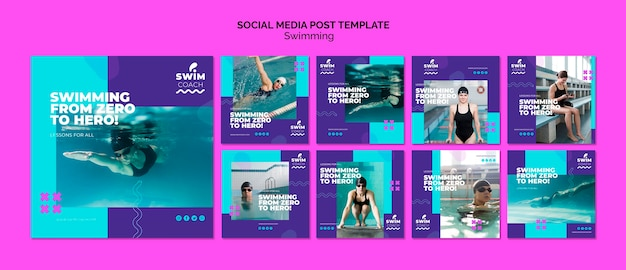 Swimming social media post template