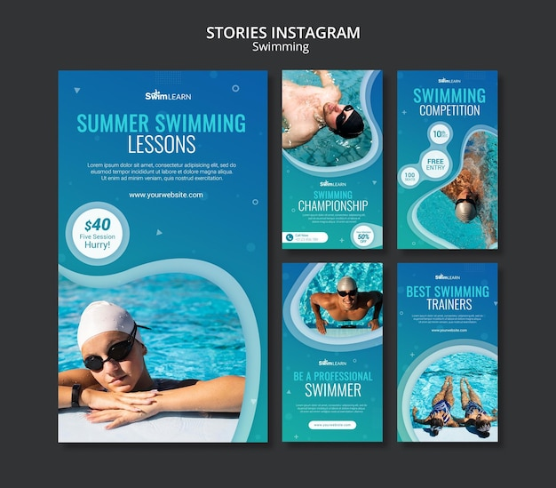 Swimming social media stories with photo