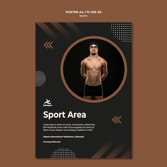 Swimming sport area poster print template