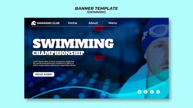 Swimming template for banner design