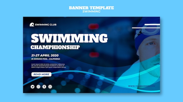 Swimming template for banner