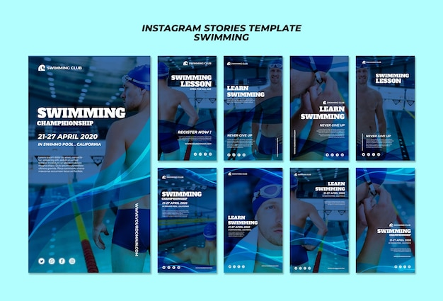 Swimming template for instagram stories