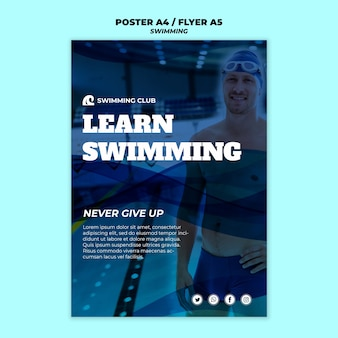 Swimming template for poster design