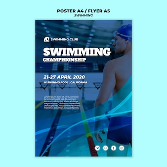 Swimming template for poster