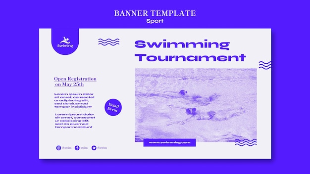 Swimming tournament banner template