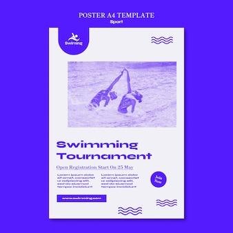 Modello di poster del torneo di nuoto