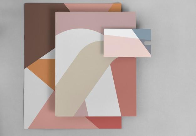 スイスのデザインカードのモックアップセット