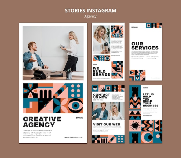 Swiss design instagram stories set
