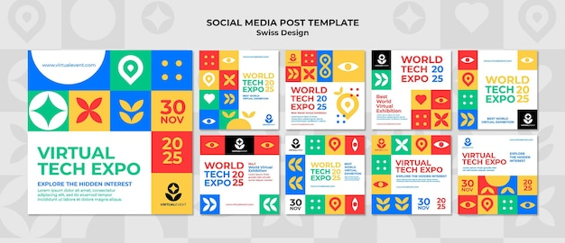 Modello di post sui social media di design svizzero