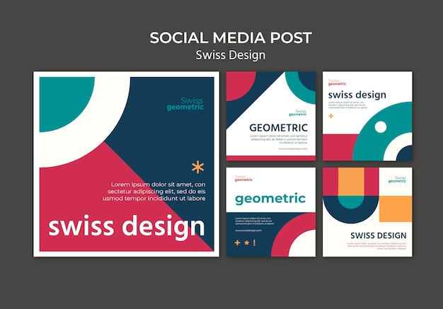 Swiss design social media posts