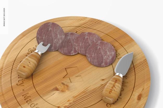 스위블 치즈 보드 세트 목업, 클로즈업
