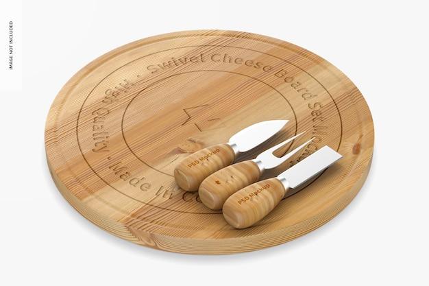Swivel cheese board set mockup