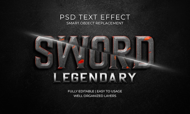Sword legendary text effect template