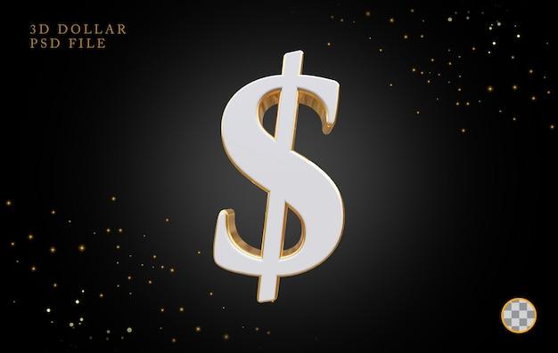 Символ доллара 3d визуализации роскоши