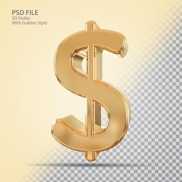 Символ доллара 3d с золотым стилем