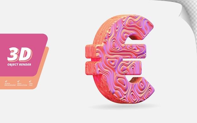 추상 로즈 골드 지형 물결 모양 질감 디자인 일러스트와 함께 격리 3d 렌더링에서 기호 유로