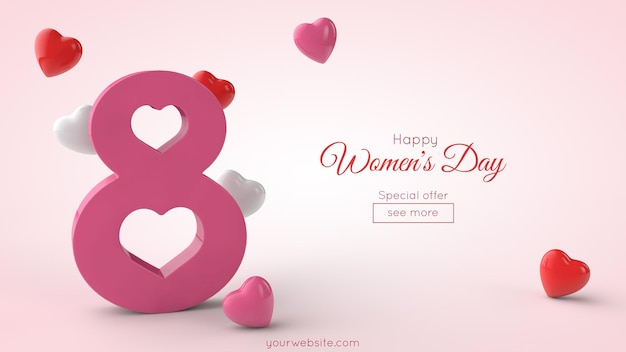 Symbol of international women's day in 3d rendering