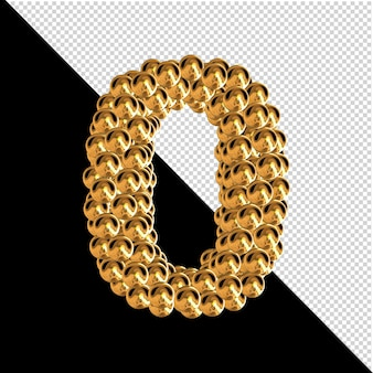 Symbol made from golden spheres. 3d number 0