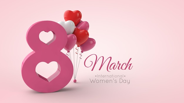 3d 렌더링에서 국제 여성의 날의 상징 프리미엄 PSD 파일