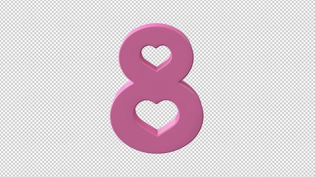 3d 렌더링에서 국제 여성의 날의 상징