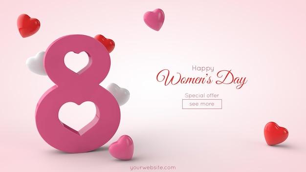 Символ международного женского дня в 3d-рендеринге