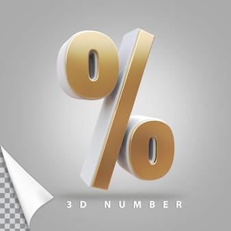 Символ процента 3d рендеринга золотой