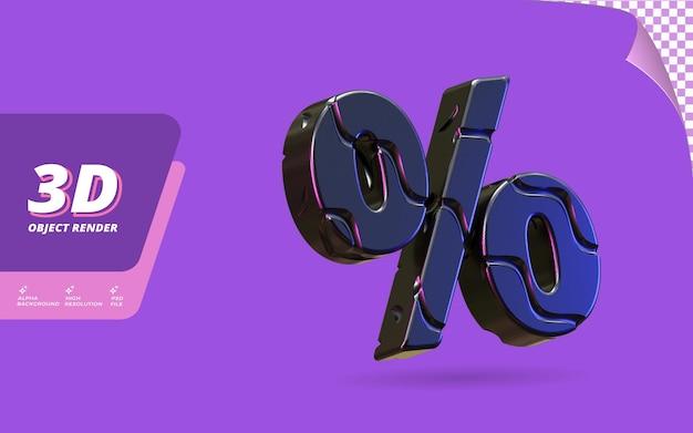 Символ процента в 3d визуализации изолирован с абстрактным металлическим черным проводом текстуры дизайна иллюстрации