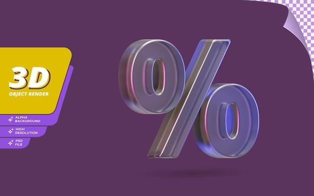 Символ процента в 3d визуализации изолирован с иллюстрацией дизайна текстуры абстрактного металлического стекла