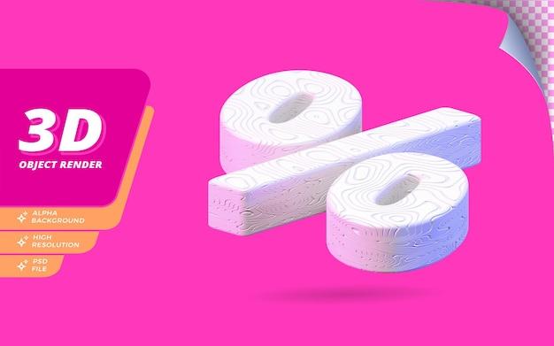추상 흰색 물결 모양 질감 디자인 일러스트와 함께 격리 된 3d 렌더링의 기호 백분율