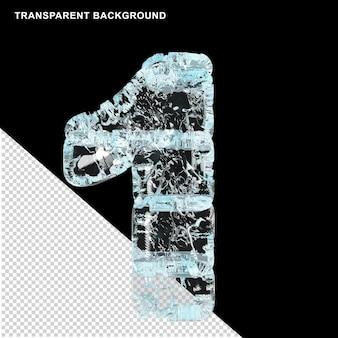 透明な背景に氷で作られたシンボル。 3d数字1