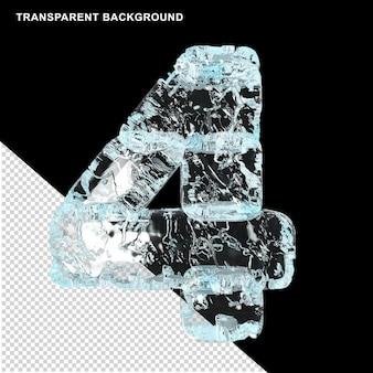 透明な背景に氷で作られたシンボル。 3d数字4