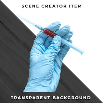 Syringe in hand isolated with clipping path