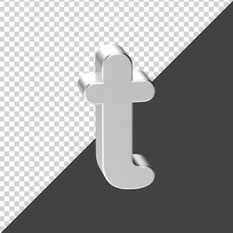 3d 렌더링에서 실버로 만든 t 편지 3d 현실적인 편지 t