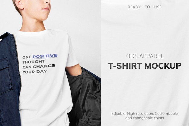 티셔츠 모형 psd, 어린이용 편집 가능한 의류 디자인