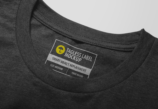 T-shirt neck tagless label mockup isolated