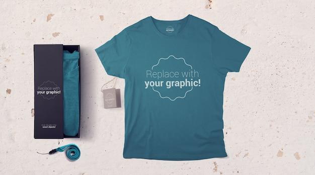 T-shirt packaging and paper tag mockup