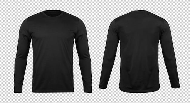 空白の黒い長い袖tシャツモックアップテンプレート
