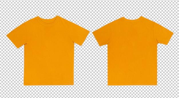 前面と背面に黄色のtシャツモックアップ