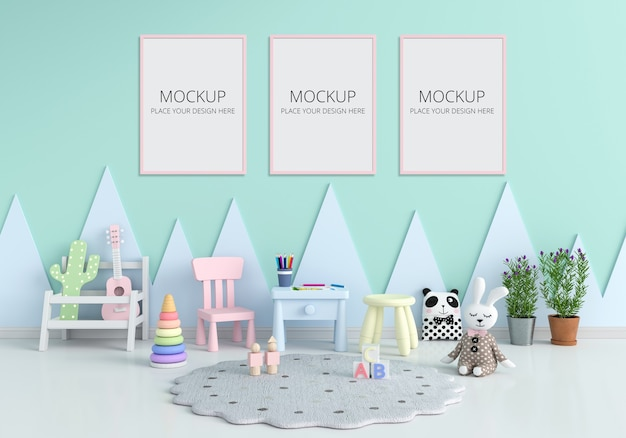 Table and chair in green children room for mockup