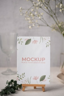 Table display with floral paper card mock-up