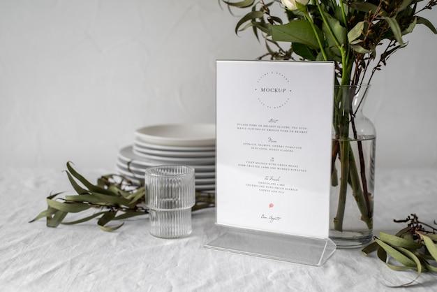 Table menu display mock-up