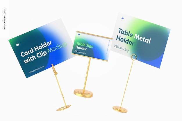 テーブルメタルサインホルダーシーンモックアップ、フローティング
