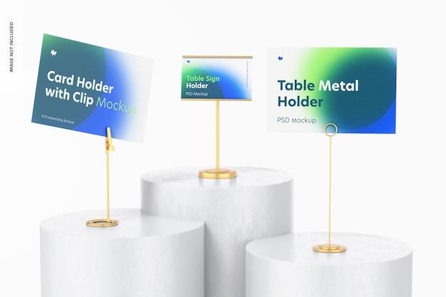테이블 금속 사인 홀더 장면 모형, 낮은 각도 보기
