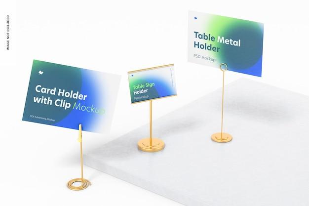 テーブルメタルサインホルダーシーンモックアップ、右側面図