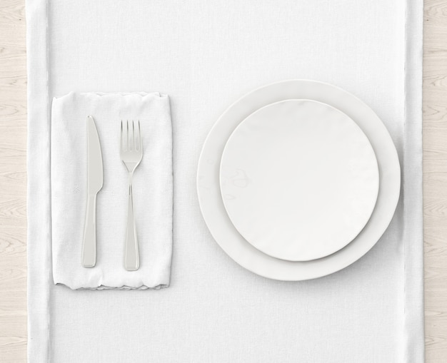 白いマットのテーブルセッティング