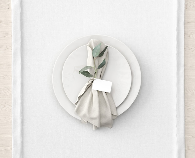 Table setting on white mat