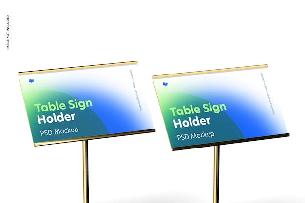 テーブルサインホルダーメタリックベースモックアップ、クローズアップ