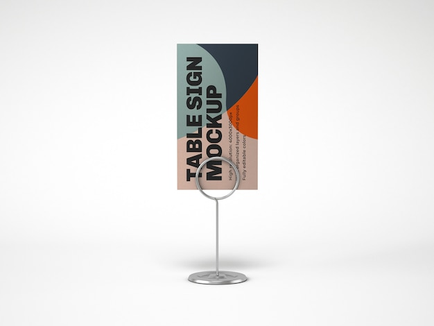 Table sign with metallic holder mockup